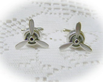 Spinning PROPELLER Silver Cuff Links - STEAMPUNK - Airplane Pilot - Aviator - Sky Pilot cufflinks