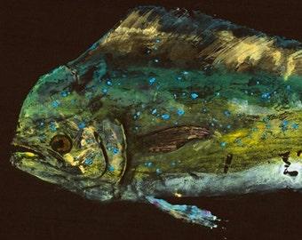 "Dolphin - ""Sea Beauty"" - Gyotaku Fish Rubbing - Limited Edition Print (34"" x 14"")"