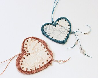 Fishnet Valentine, Pottery and Fiber Knotted Necklace, Dusty Rose or Blue Aquamarine and White Woven Necklace HT29