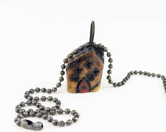 Dark Crooked House Necklace Pendant,House Jewelry, Tiny Twisted Weird Clay House, Robot,  Burned Pottery Cottage, Crooked Shack, ROB