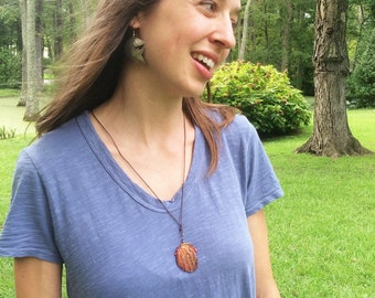 Woven Wire Copper Medallion Necklace, Boho Jewelry