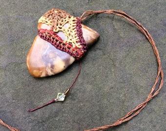 Polished Stone and Fiber Necklace  Orange Rust Burgundy Primitive Rustic Simple SHL70