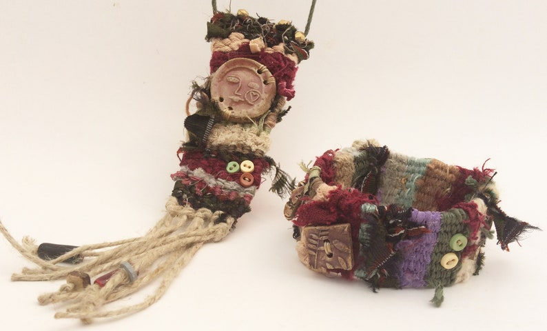 Set of Tapestry Jewelry Woven Boho Cuff Wristlet and Necklace Set Burgundy Olive Moonface Honeybee Bird