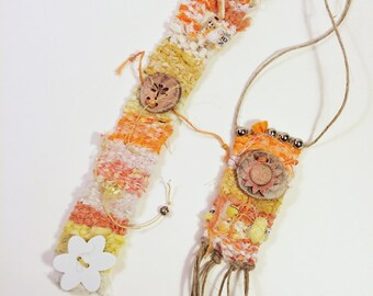 Hello Sunshine Set of Tapestry Jewelry Woven Boho Cuff Wristlet Bracelet and Necklace Set, Peach White yellow Dragonfly