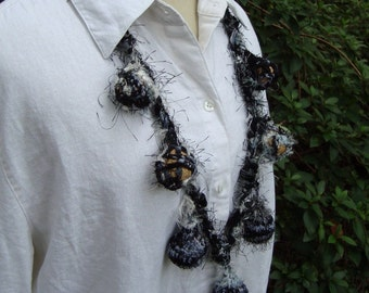 Statement Necklace, Big Ball Fuzzy Necklace, Black and White Fiber,  Textile Jewelry FZ