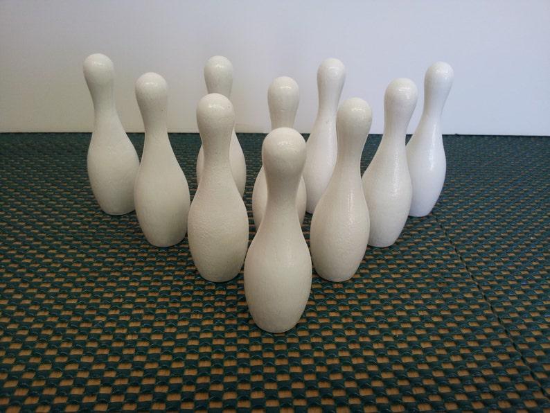 3 White Mini Bowling Pin Set