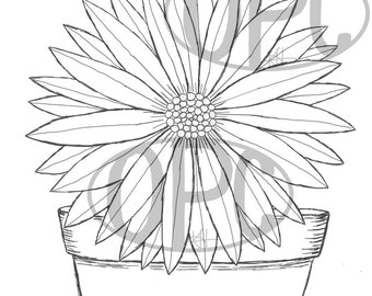 Digital Stamp Clay Pot Daisy