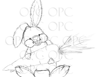 Digital Stamp Happy Rabbit