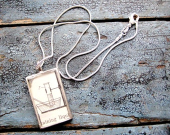 Gas collection Over Water Vintage Illustration from Chemistry for Nurses Text in Silver Pendant