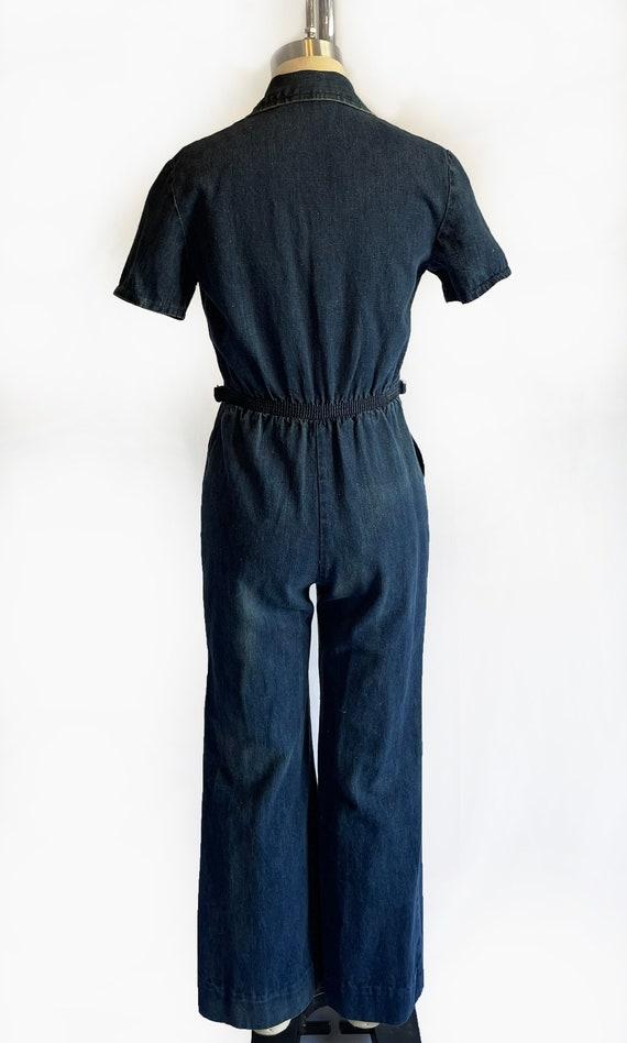 Vintage 1970s Demin Jumpsuit   70s Coveralls   Bo… - image 5