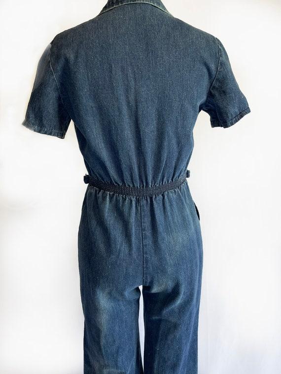 Vintage 1970s Demin Jumpsuit   70s Coveralls   Bo… - image 4