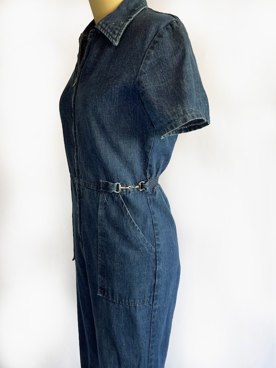 Vintage 1970s Demin Jumpsuit   70s Coveralls   Bo… - image 3