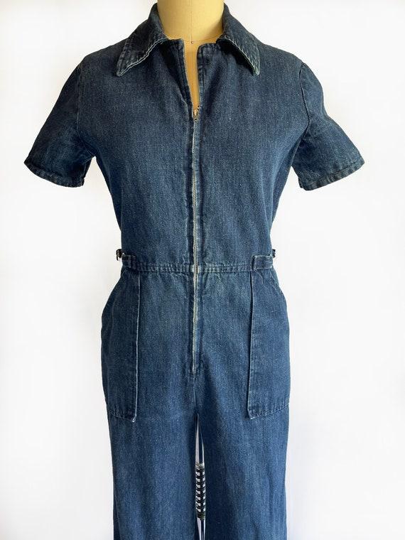 Vintage 1970s Demin Jumpsuit   70s Coveralls   Bo… - image 2