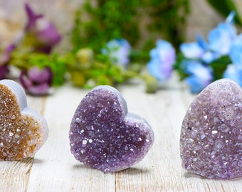 Amethyst Gemstone Heart - Stone of Power, Protection, Healing - Various Sizes