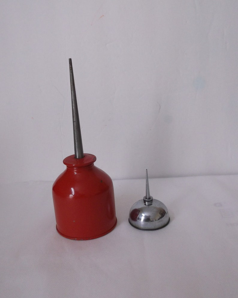 Red and Silvertone Oil Cans  Man Cave Decor  Garage Decor  FREE SHIPPING