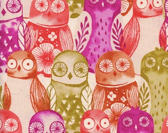 Cotton + Steel - Firelight Collection - Wise Owls in Fuchsia