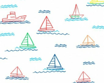 SALE - Dear Stella - Things that Go Collection - Sailing in White