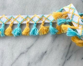 Fringe Tassel Trim in Yellow / Turquoise - By the Yard