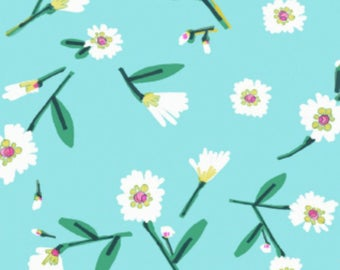SALE - Dear Stella - Mint Julep Collection - Lake Flowers in Turquoise