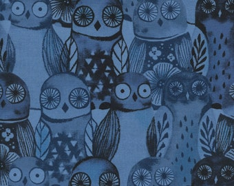 Cotton + Steel - Eclipse Collection - Wise Owls in Blue