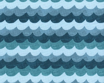 Cotton + Steel - Rifle Paper Co. - Amalfi Collection - Waves in Turquoise