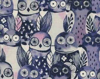Cotton + Steel - Eclipse Collection - Wise Owls in Night
