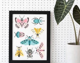 Retro Insects Print no 2 Instant Download Printable Wall Art Modern Abstract Wall Art Botanical Digital Art