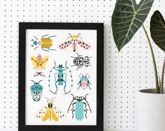 Retro Insects Print no 1 Instant Download Printable Wall Art Modern Abstract Wall Art Botanical Digital Art