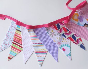 Home decor, bunting banner, bunting garland, banner flags, nursery decor, wall decor, pink pennants, triangle garland, party bunting