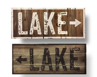 Real Wood Rustic LAKE sign with arrow 16 x 36 0r 22 x 52 Rustic Lake House Wall Decor, Wooden Lake Sign