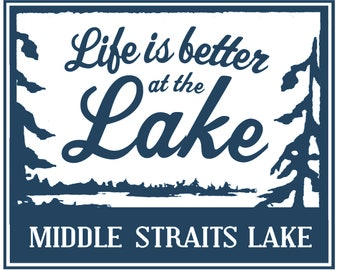 Middle Straits Lake Michigan rustic wood sign, Navy blue