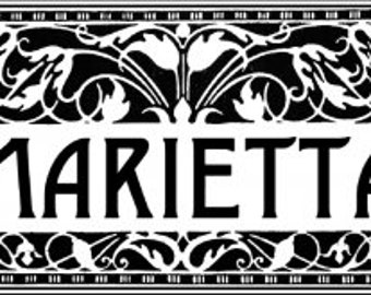Rustic Wooden Sign Marietta Art Deco Style  10 x 16 Welcome to Kirkwood Wooden Sign Wall Hanging Home Decor Rustic Sign Neighborhood Vintage