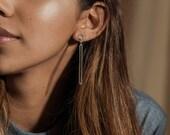 Accent earrings - long stud dangly sterling silver earrings