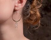 Rayen Hoops - sterling silver and gold fill dangle earrings