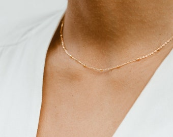 Satellite Choker Necklace | Gold Choker Necklace | Simple Choker