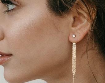 Fringe Earring Jackets | Statement Earrings | Gold Dangle Earrings