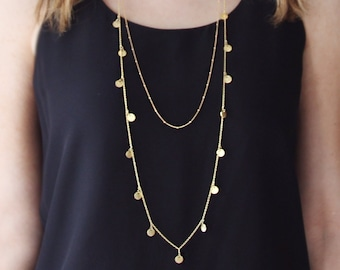 Long Gold Coin Necklace | Long Gold Necklace