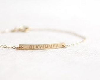 Roman Numeral Bracelet | Wedding Date Bracelet | Gold Bar Bracelet | Personalized Bar Bracelet