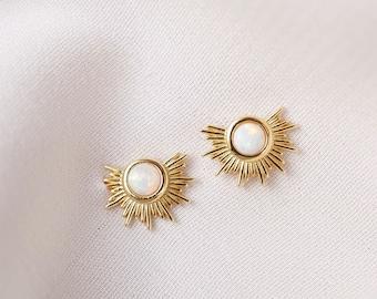 Opal Stud Earrings, Gold and Opal Earrings, Everyday Stud Earrings
