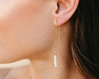 Pearl Threader Earrings, Pearl Drop Earrings, Freshwater Pearl Earrings, June Birthstone Earrings, Bridal Earrings