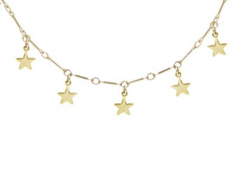 Gold Star Dangle Choker | Gold Choker Necklace | Star Necklace