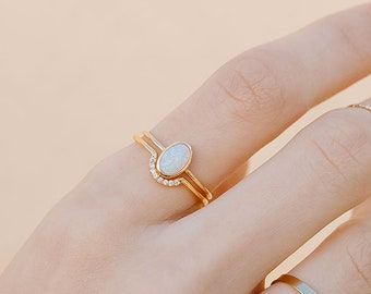 Opal Ring, Thin Gold Ring with Opal, Opal  Solitaire Ring, Delicate Gold Ring