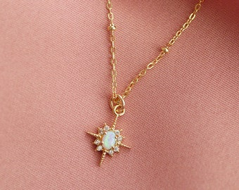 Northstar Opal Necklace | Opal and Gold Necklace | Dainty Star Necklace
