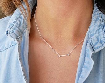 Silver Arrow Necklace | Sterling Silver | Sideways Arrow Necklace