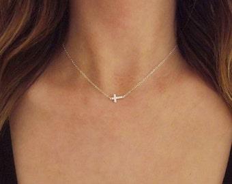 Mini Sideways Cross Necklace Sterling Silver | Sideways Cross Necklace Silver