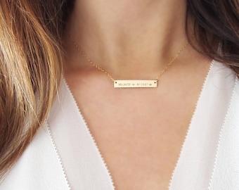 Coordinate Necklace Gold | Longitude Latitude Necklace | Personalized Bar Necklace
