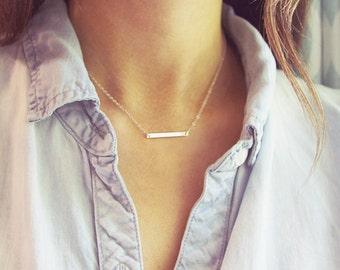 783ad4dfe4b2ef Silver Bar Necklace | Sterling Silver Bar Necklace | Simple Dainty Silver  Jewelry