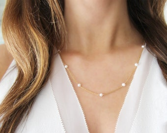 Modern Pearl Necklace   14kt Gold Filled OR Sterling Silver   Freshwater Pearls