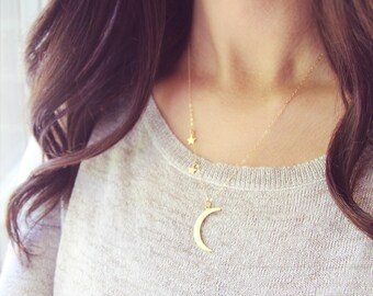 Starry Night Necklace | Moon and Stars Necklace