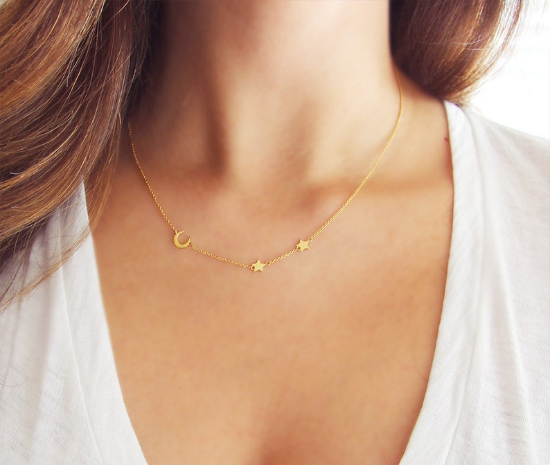 Moon and Star Necklace  Delicate Gold Necklace  Crescent image 0